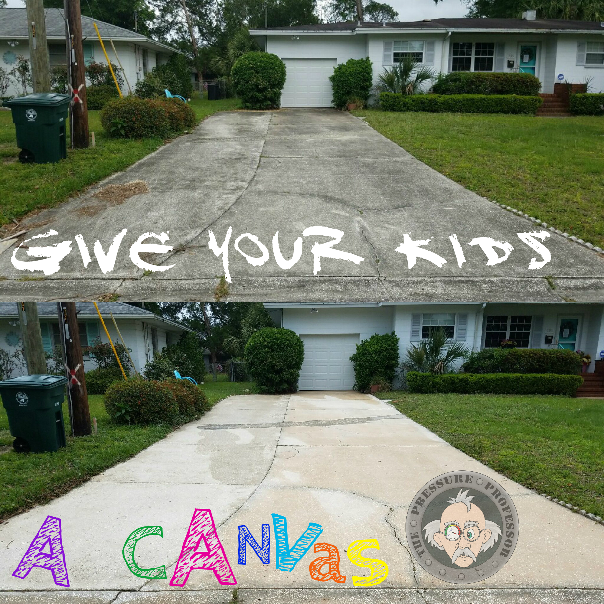 Give your kids a canvas by pressure washing your driveway! We pressure wash concrete, brick, pavers, and other hard surfaces