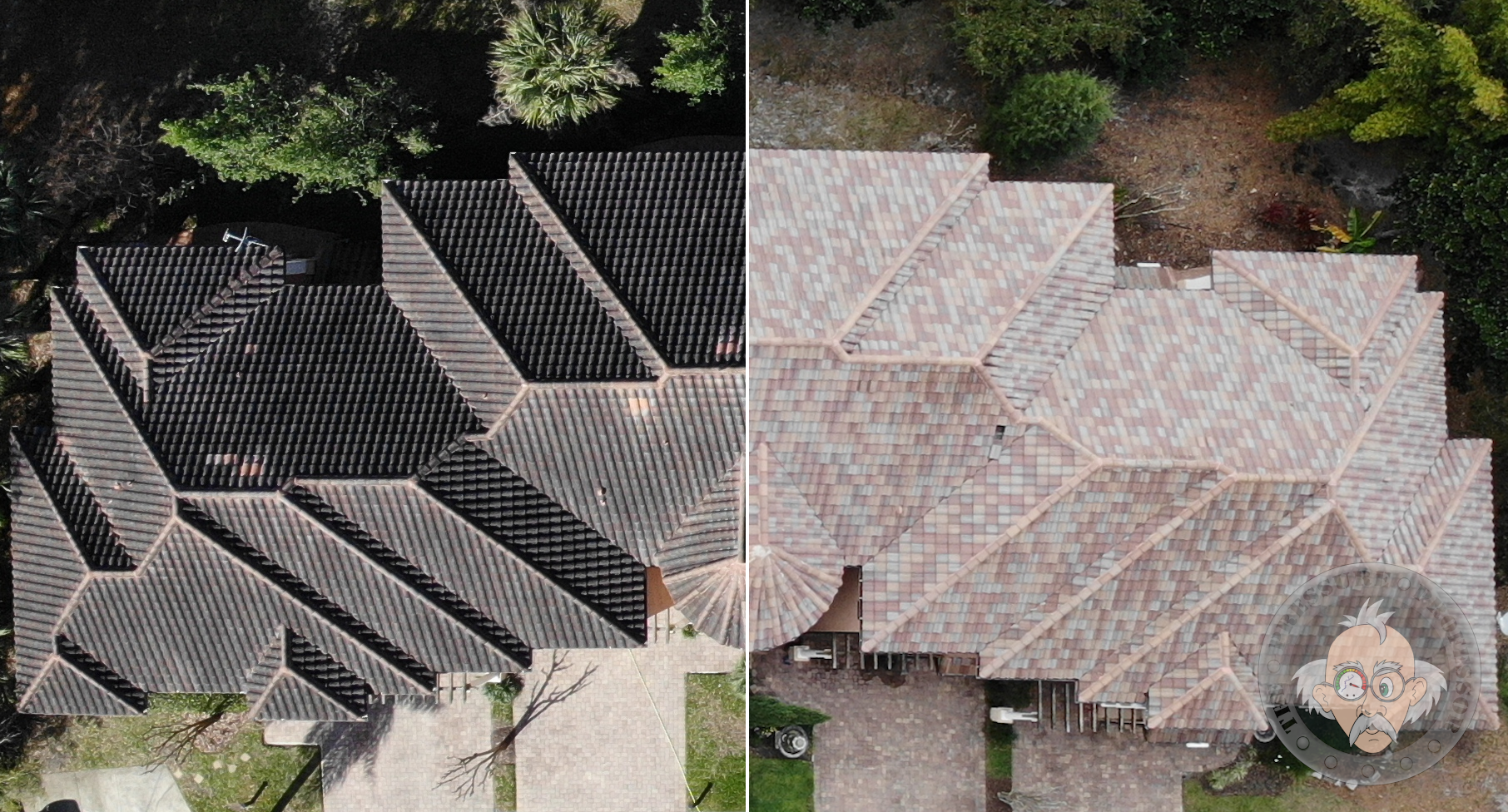 Safe low pressure roof cleaning for tile, shingle, and metal roofs