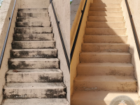 The pressure professor can pressure wash stairs, balconies, railings, and more.
